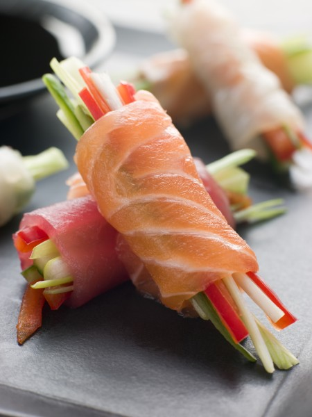 sashimi gemuese broetchen mit sojasauce