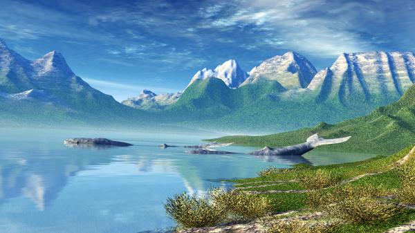 seelandschaft mit walen