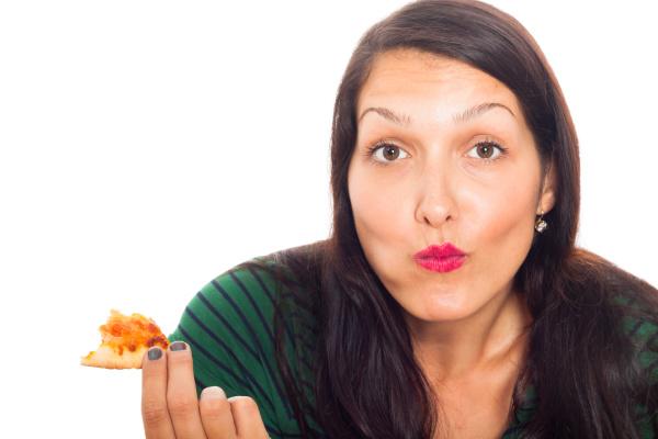 frau, isst, pizza - 8391633