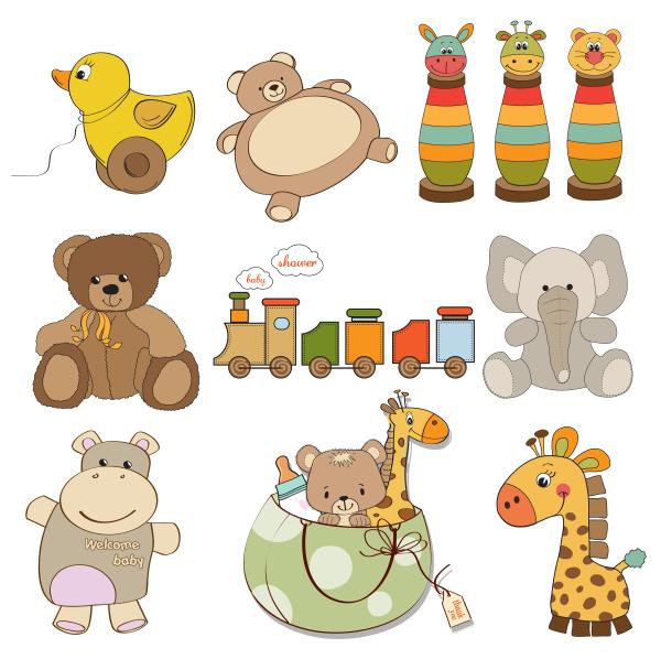 abbildung verschiedener spielzeugartikel fuer babys
