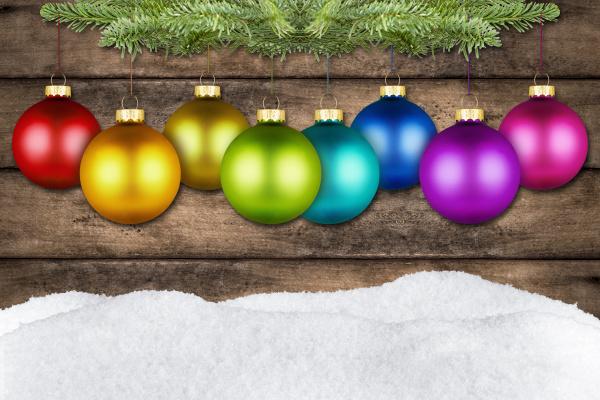 christmas balls and fir rustic