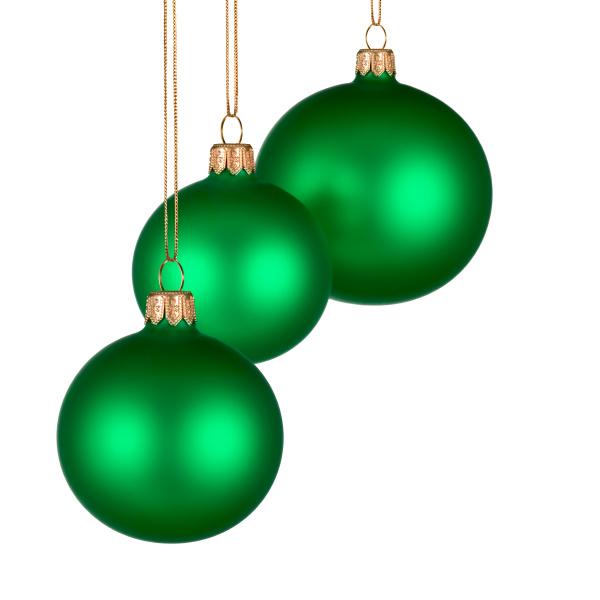 weihnachtliche verzierung mit 3 gruenen kugeln
