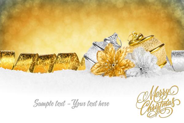 xmas card gold silver