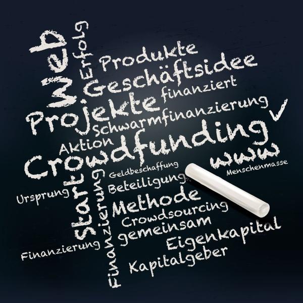 tafel und kreide mit crowdfunding