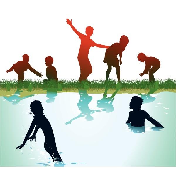 kinder baden und spielen