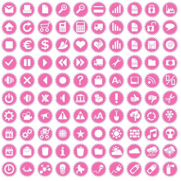 einhundert business icons auf rosa sternen