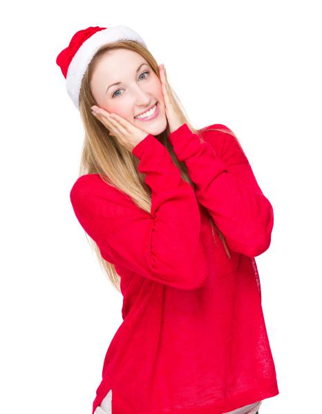lustige frau mit weihnachtshut