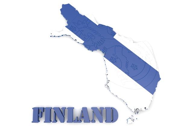 karte illustratin von finnland mit fahne