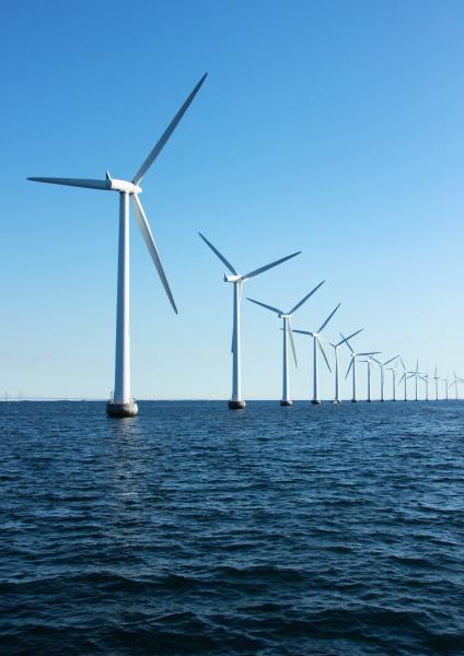vertical, perspective, of, ocean, windmills, with - 12886498