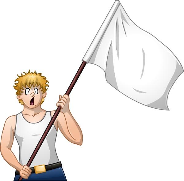 guy haelt weisse flagge und shouts