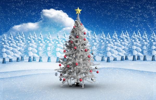 composite bild von weihnachtsbaum mit kugeln
