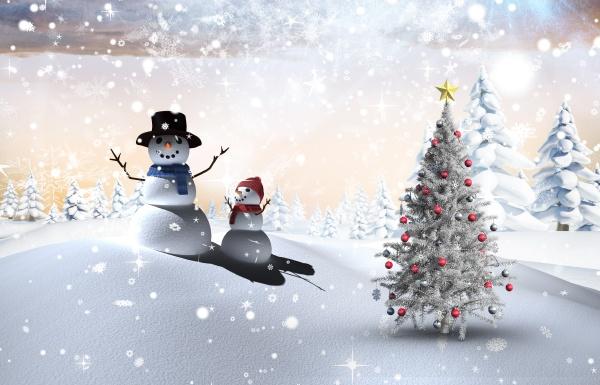 zusammengesetztes bild des weihnachtsbaums und des