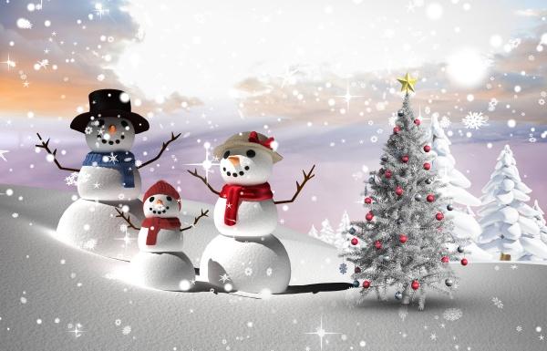 composite bild von weihnachtsbaum und schneemaenner