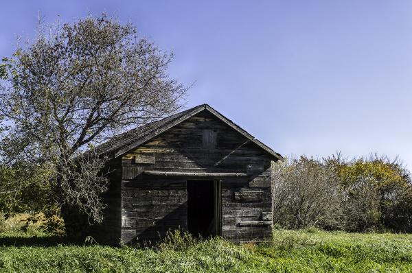 old abandoned chicken coop open door