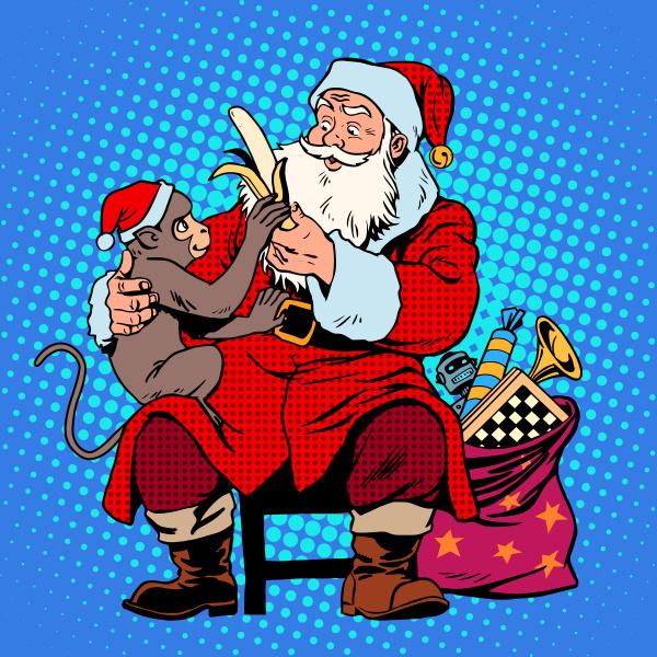 weihnachtsmann affe symbol des neuen jahres