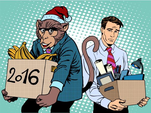 weihnachtsmann affe 2016 neues jahr und