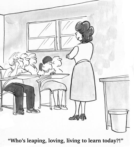 der lehrer schaut auf die gelangweilten