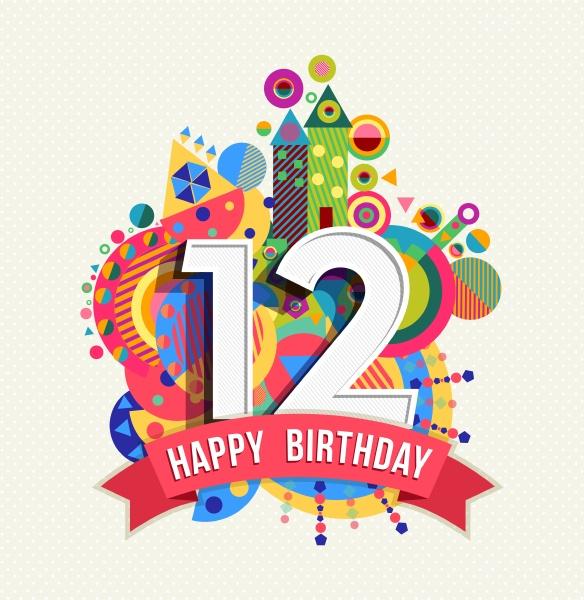happy birthday 12 jahre grusskarte plakat