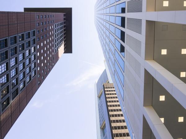froschperspektive bauten haus hochhaus gebaeude stadt
