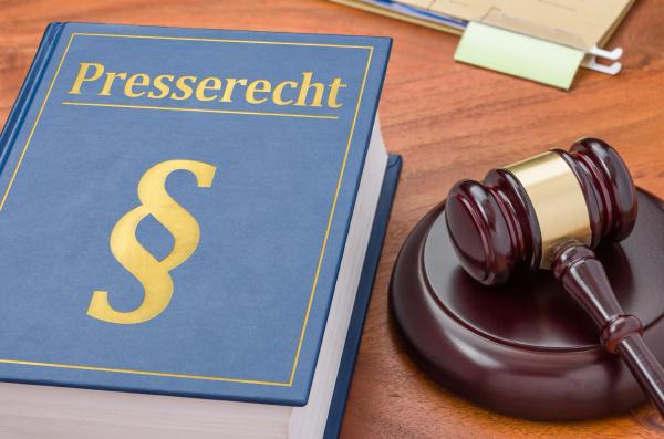 gesetzbuch mit richterhammer presserecht