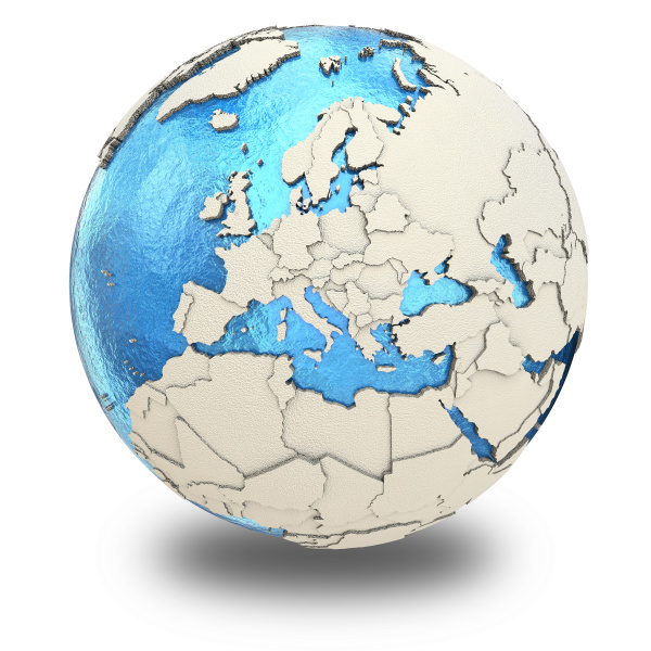 europa am modell des planeten erde