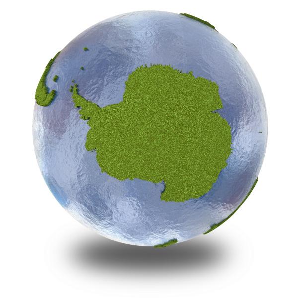 antarktis auf 3d modell des planeten