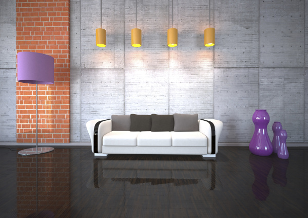 couch im wohnzimmer mit licht