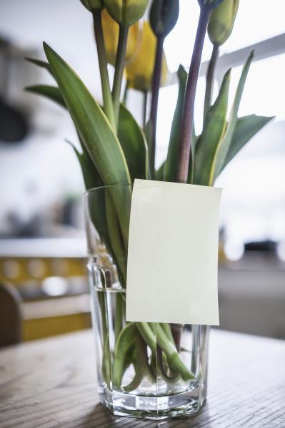 haftnotizen auf ein glas mit tulpen