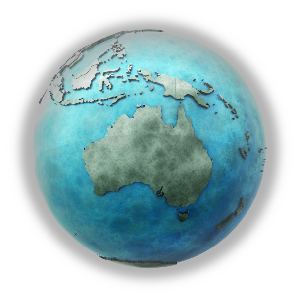 australien auf marmorner erde