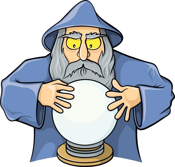 zauberer mit magischen kugel