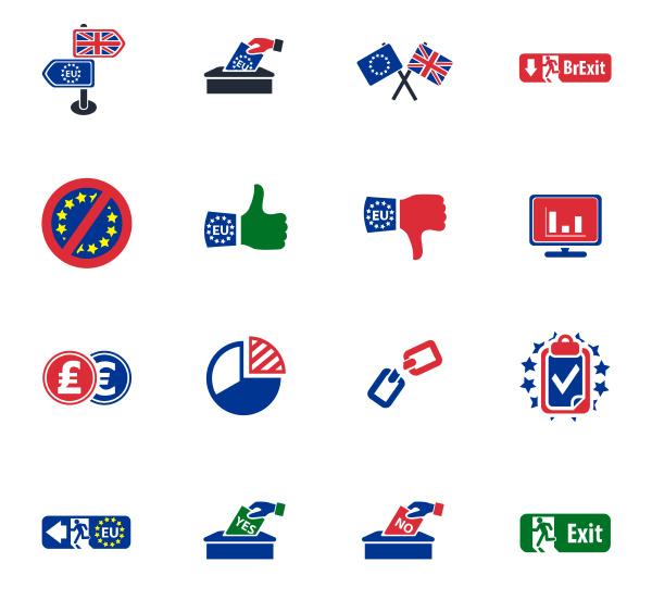 brexit britisches referendumskonzept ikonen