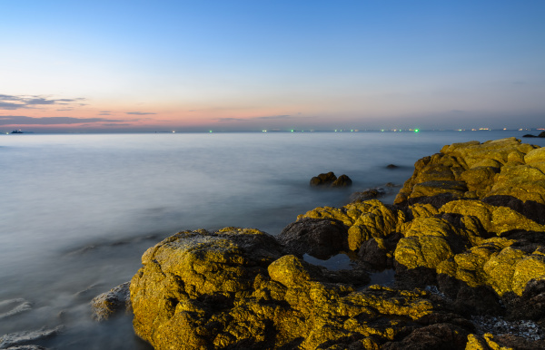rock beach sunset skyline