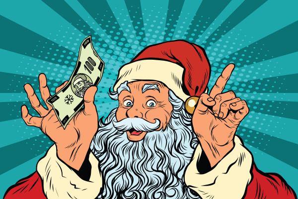weihnachtsmann mit geld neujahr und weihnachten