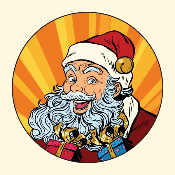 froehlicher weihnachtsmann mit geschenken