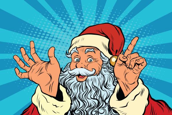 weihnachtsmann aehnelt pop art retro illustration
