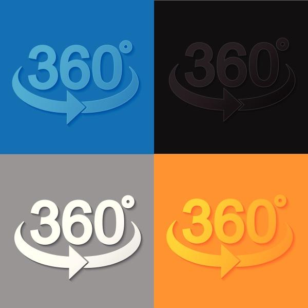 360 zeichen im 3d flachstil