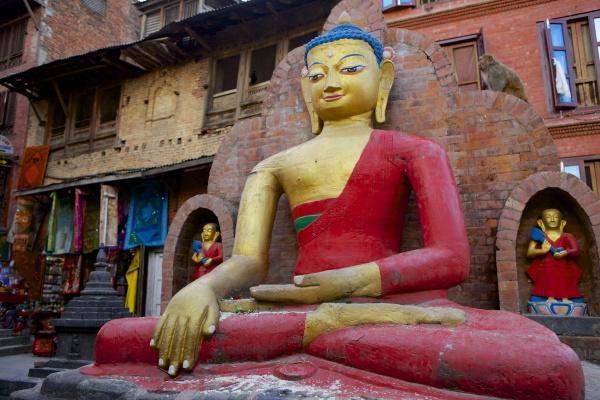 buddha statue swayambhunath affentempel unesco weltkulturerbe