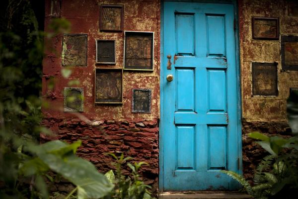blau blatt baumblatt architektonisch bauten farbe