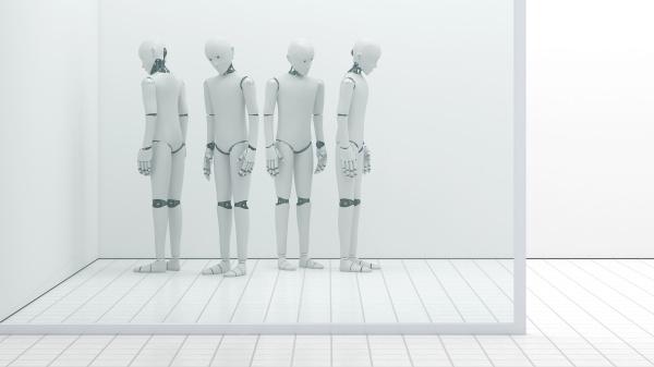 roboter ausser ordnung lagerraum 3d rendering