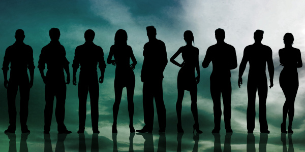 silhouette der geschaeftsleute