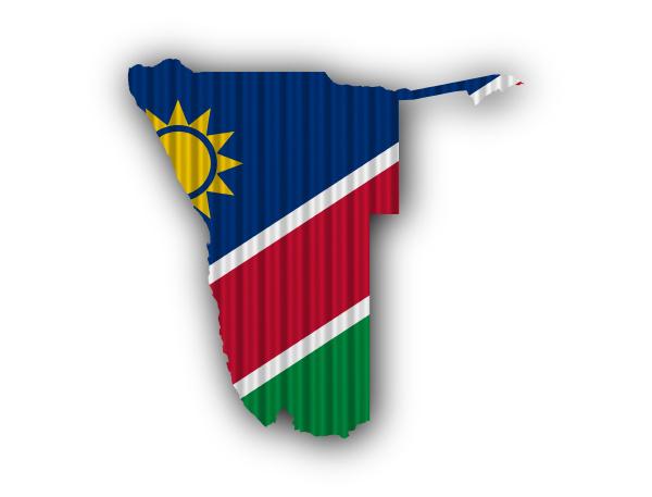 karte und fahne von namibia auf