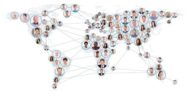 netzwerk und kommunikationskonzept auf weltkarte