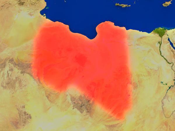 libyen aus dem weltraum in rot