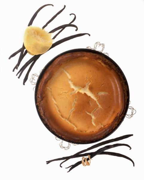 ein zitronenkuchen mit vanille