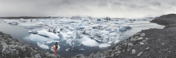 island panoramablick auf joekulsarlon gletscherfluss lagune