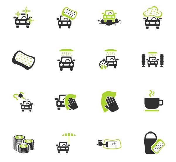 auto waschen service icon set