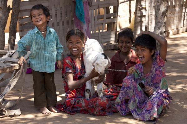 glueckliche indische kinder in typisch rajasthani