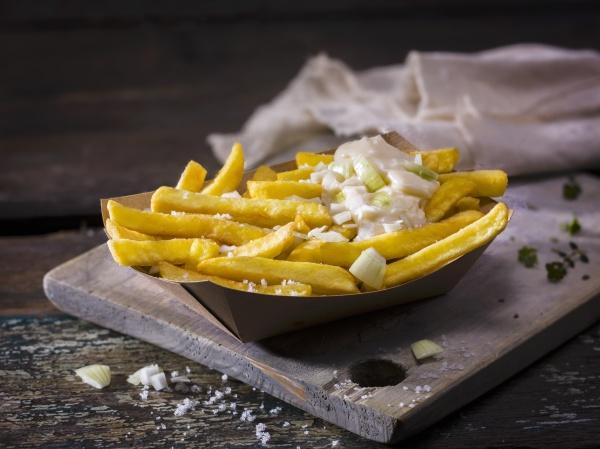 hausgemachte pommes frites mit salz und