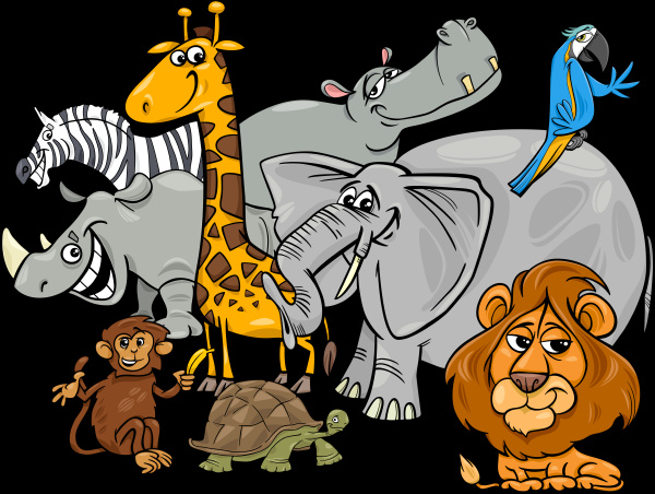 cartoon safari tier zeichen gruppe