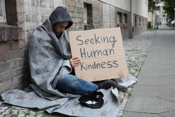 bettler der menschliches freundlichkeits zeichen auf